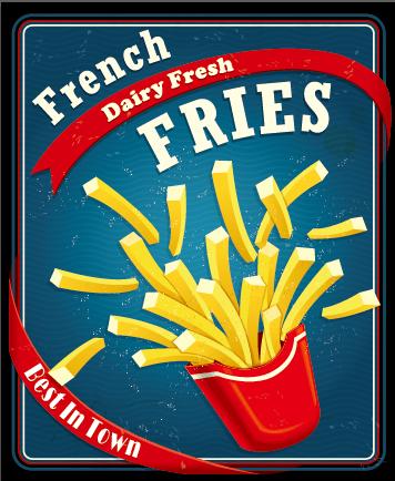 Retro vintage fast food poster design vector 02