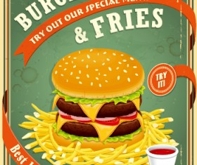 Retro vintage fast food poster design vector 03