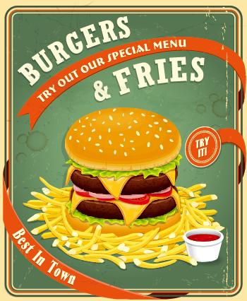 Retro vintage fast food poster design vector 03