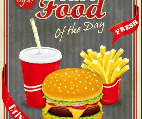 Retro vintage fast food poster design vector 04
