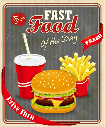 Retro vintage fast food poster design vector 04