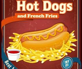 Retro vintage fast food poster design vector 05