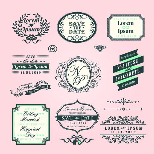 Romantic wedding labels design vector