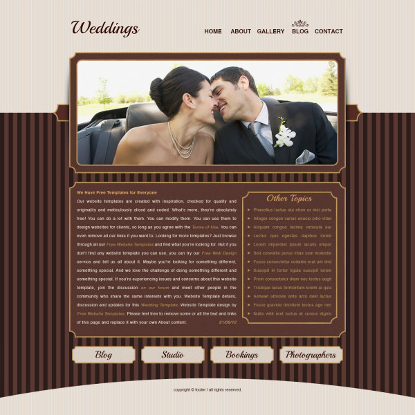 Free psd file romantic weddings website psd template download
