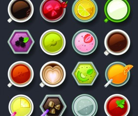 Set of best food icons vectors graphics 01