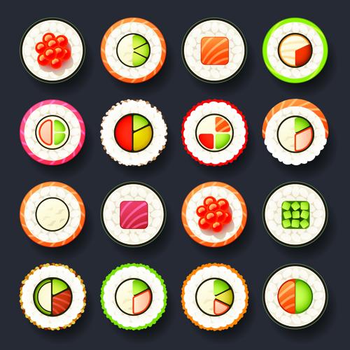 Set of best food icons vectors graphics 02