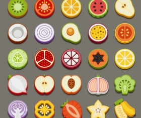Set of best food icons vectors graphics 04
