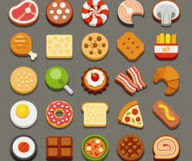 Set of best food icons vectors graphics 05