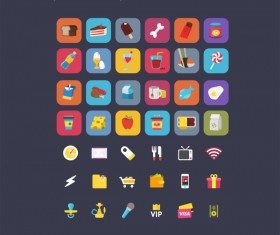 Set of food with life cute icons