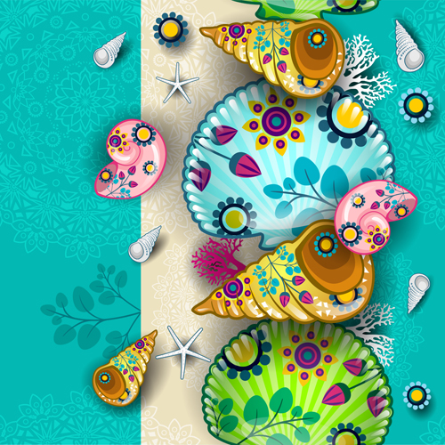 Shells with marine elements vector background art 01