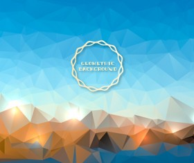 Shiny geometric shapes embossment background vector 01