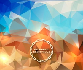 Shiny geometric shapes embossment background vector 02
