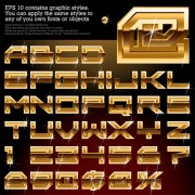 Link toShiny golden alphabet and numeric vector material