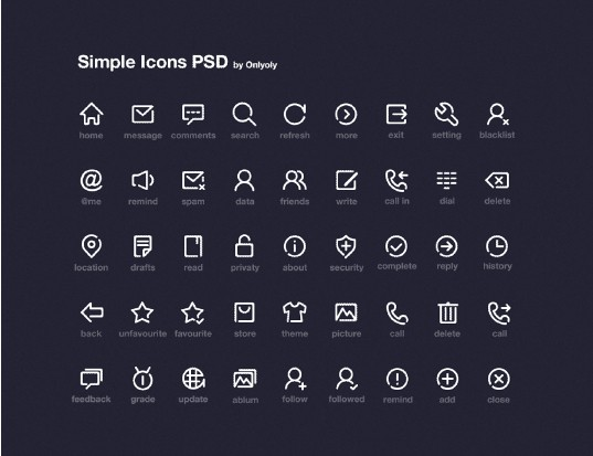 Simple system line icons