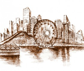 Sketch urban building vector material 01