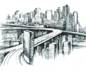 Sketch urban building vector material 03