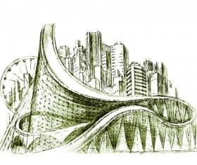 Sketch urban building vector material 04