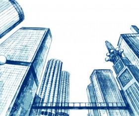 Sketch urban building vector material 05