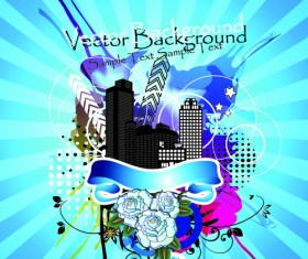 Stylish city party vector background 03