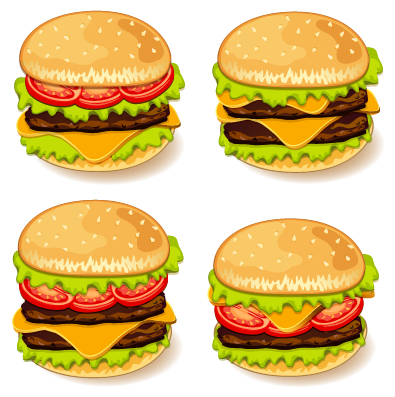 Tasty burgers icons vector graphics - Vector Icons free download