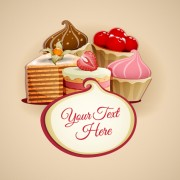 Link toTasty dessert and sweets background vector 01