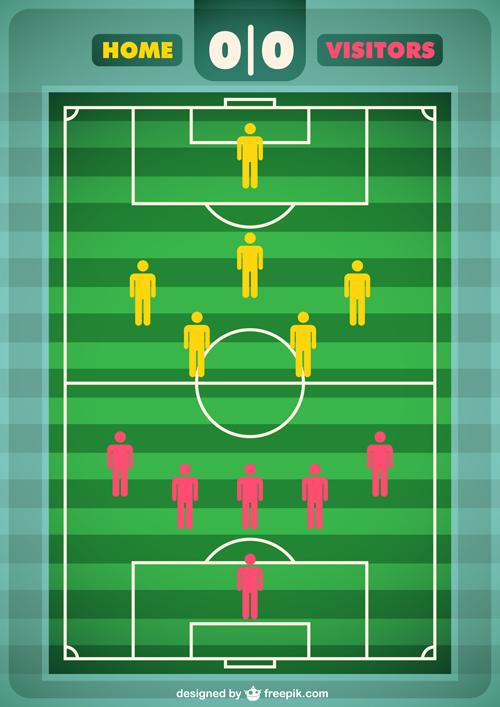 Tournament soccer field design elements vector 01