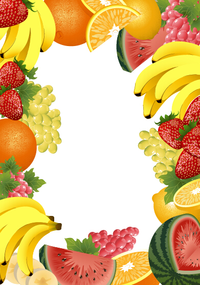 Various fruits frame vector material - Vector Food, Vector ...