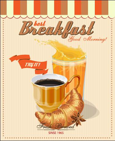 Vector retro breakfast poster design graphic 01