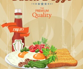 Vector retro breakfast poster design graphic 04