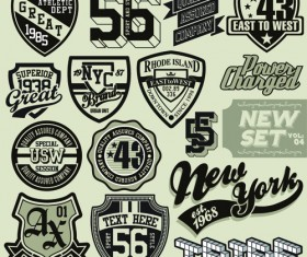 Vintage T-shirt labels creative vector material 01
