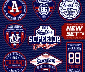 Vintage T-shirt labels creative vector material 03