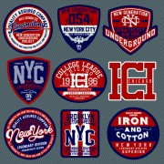 Link toVintage t-shirt labels creative vector material 05