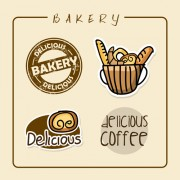Link toVintage bakery with coffee labels vector graphics