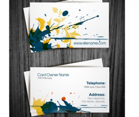 Watercolor splash business cards vector graphic 02