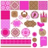 Wedding labels with seamless pattern vector 01