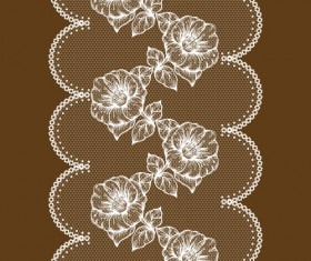 White lace with flower design vector