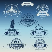 Link toWhite with dark blue summer travel labels vector 01