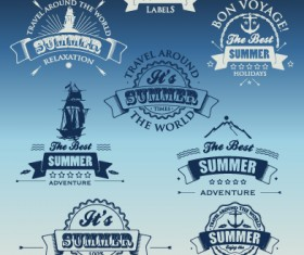 White with dark blue summer travel labels vector 01