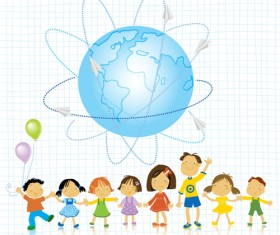World and kids creative background vector 01