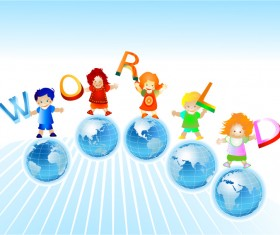 World and kids creative background vector 02