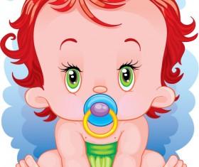 lovely cartoon baby design vector 01