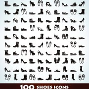 Link to100 kind shoes vector icons