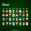 2014 brazil soccer world cup grouping national flag icons vector
