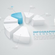 Link to3d people with business infographics vector