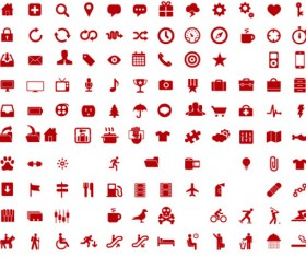 600 Kind commonly red icons vector