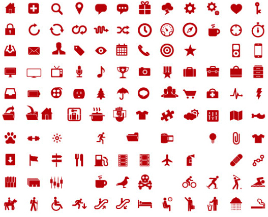 600 kind commonly red icons vector free download