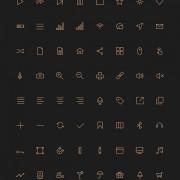 80 kind golden stroke icons