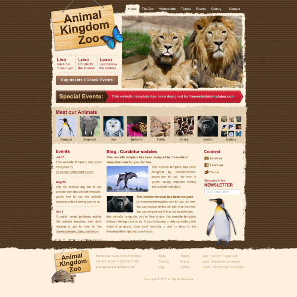 Animal kingdom psd web template
