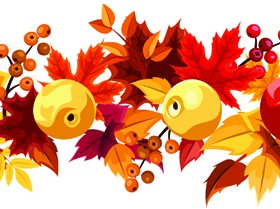 Autumn leaves and fruit vector seamless pattern