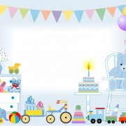 Link toBirthday cake and toys baby card vector